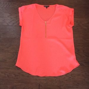 Neon pink silky shirt from express
